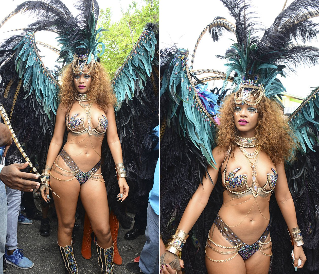 Rihanna Barbados Crop Over 2015 Kadooment Day Zulu International Mockingjay costume and Jacquie Aiche body chains