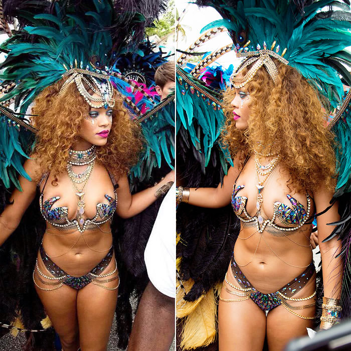 Rihanna at Barbados Crop Over festival Kadooment Day 2015 wearing Zulu International Mockingjay costume and Jacquie Aiche body chains
