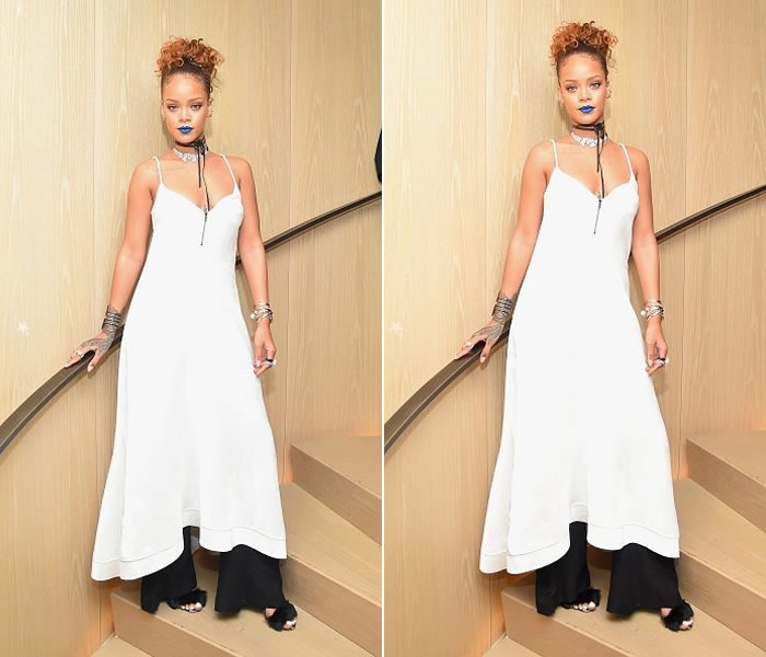 Rihanna wearing Ellery Resort 2016 white velvet roulette dress