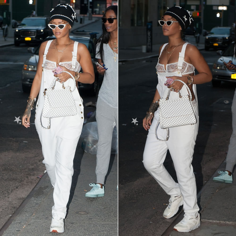 Rihanna wearing Adam Selman bow beanie, Frame Denim Le Garcon white overalls, Puma Trinomic R698 NC sneakers in marshmallow, Dolce and Gabbana polka dot Sicily handbag,  Le Specs the last lolita sunglasses, Eres Tempera bra