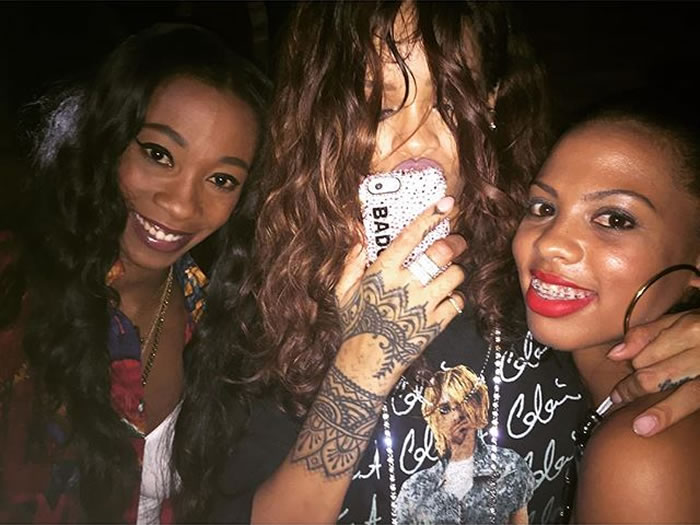 Rihanna wearing Kurt Cobain in a dress t-shirt, Richesse NYC Bad Gal iphone casea