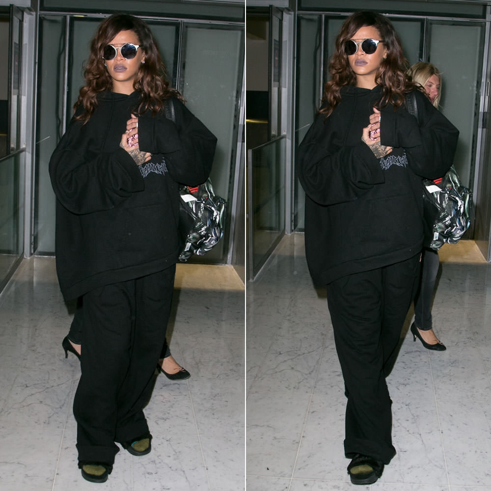 Rihanna wearing Sunday Somewhere Matahari sunglasses, Vetements hoodie, Martine Rose x Been Trill oversized trousers, Puma by Rihanna fur sandals, Givenchy airplane print backpack