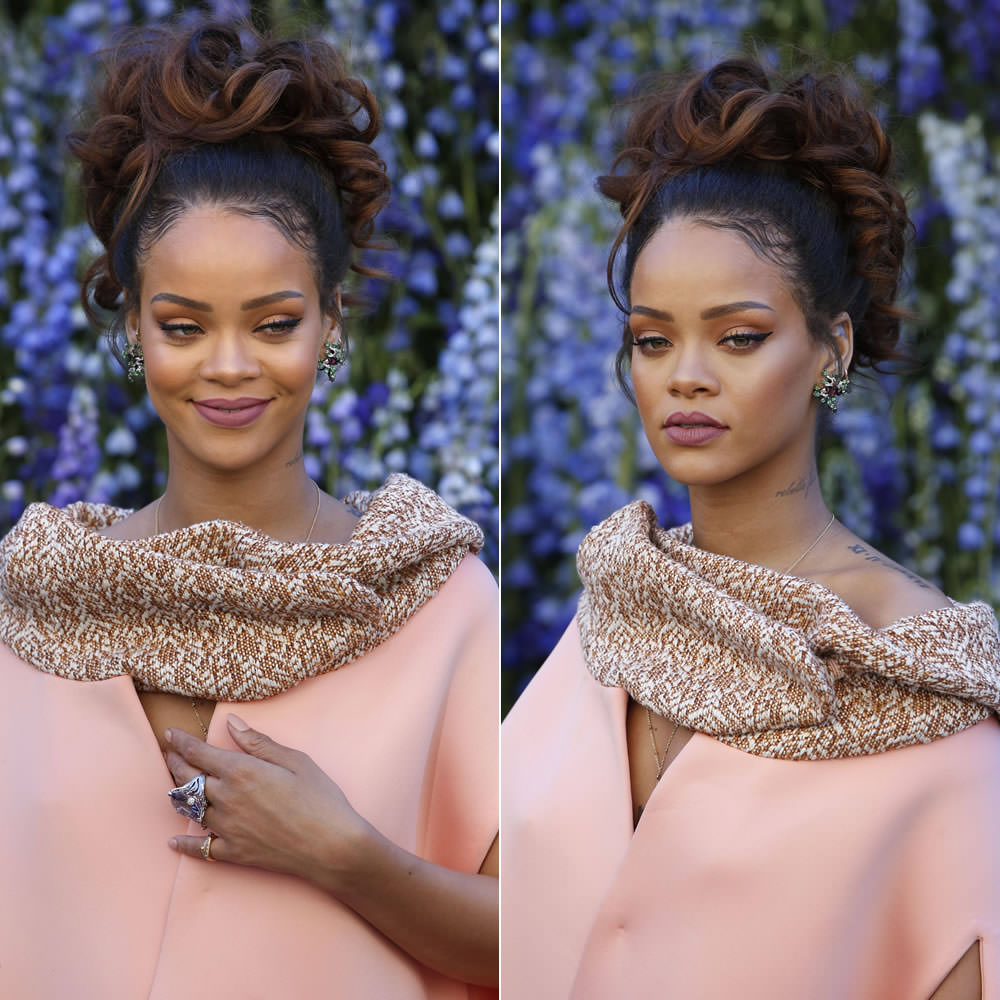 Rihanna wearing Dior Milly Carnivora Poisonus earrings and Miss Dior amethyst ring at Dior Spring 2016 fashion show