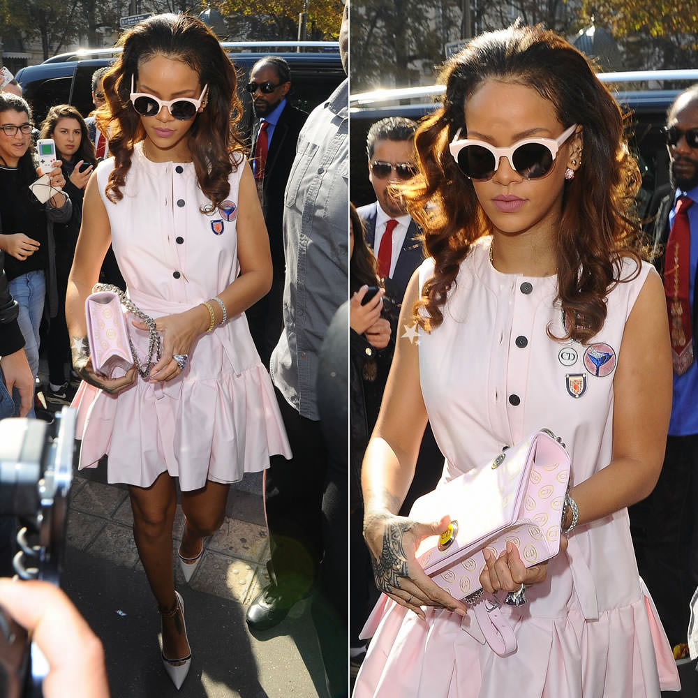 Rihanna wearing Christian Dior custom patch dress, white pumps, Sideral sunglasses, Resort 2016 embroidered handbag, Miss Dior amethyst ring