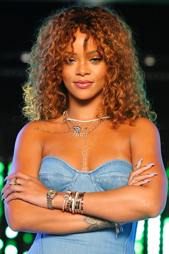 Rihanna on the Voice wearing Inez and Vinoodh pearl necklace, Rafaello and Co Roc Nation pendant, Jennifer Fisher custom Fenty Gothic letter necklace, Jacquie Aiche body chains and bracelets