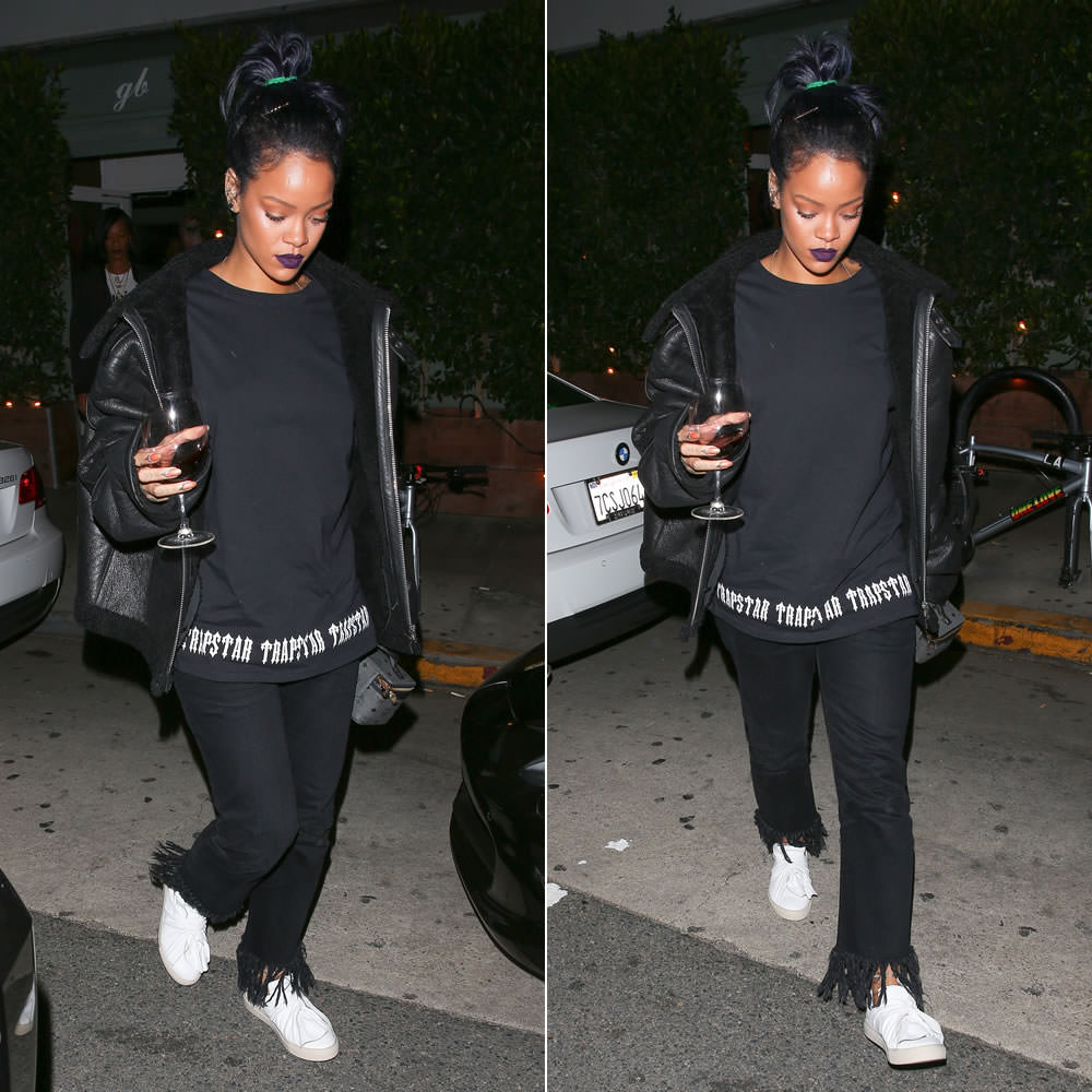 Rihanna wearing Ports 1961 Bee knot slip-on sneakers, Vetements black shearling leather jacket, Trapstar Irongate base tee, MCM cosmetics train case