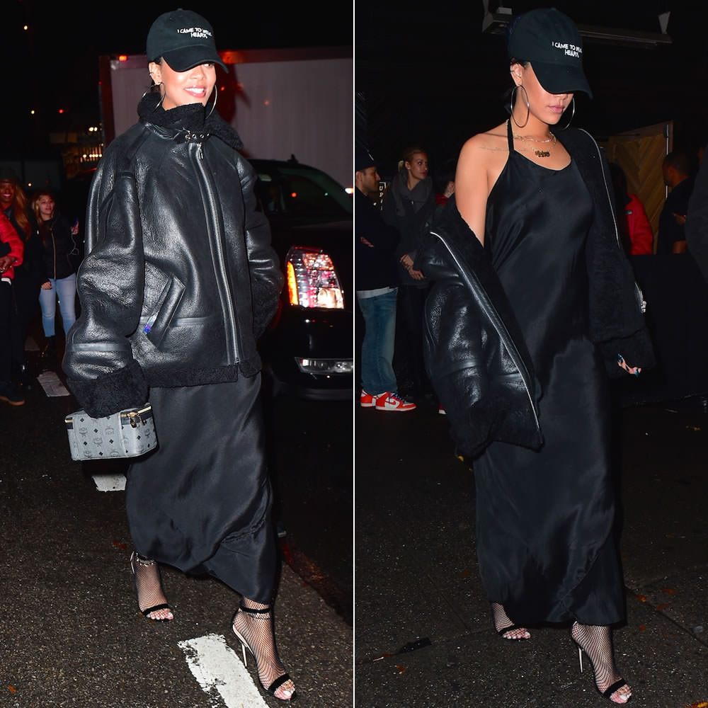 Rihanna wearing Nasaseasons I came to break hearts hat, Vetements black shearling leather jacket, Manolo Blahnik Chaos sandals