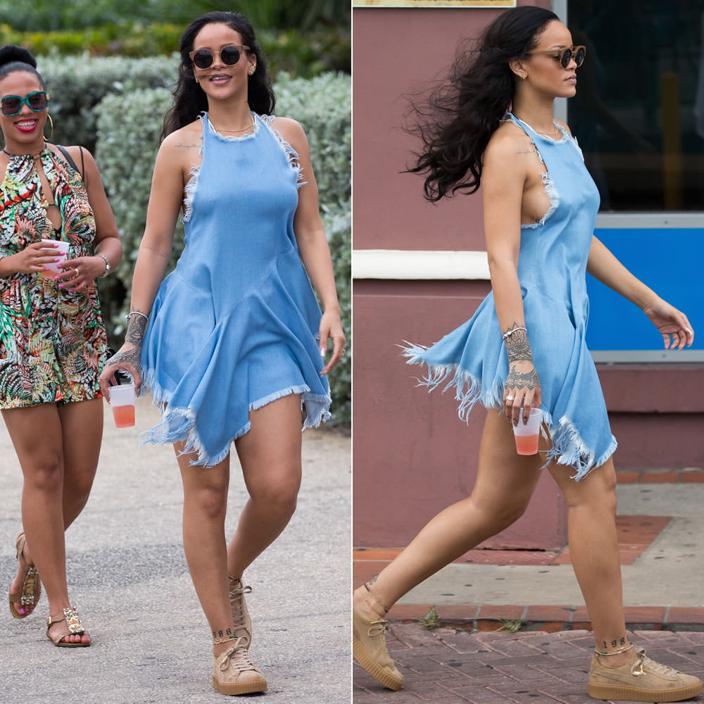 Rihanna Marques'Almeida denim halter top, Finlay and Co Thurloe wooden round sunglasses, Puma by Rihanna oatmeal suede creepers, Jacquie Aiche diamond halter bra, Pandora bracelet