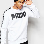 Puma logo sweatshirt with branded taping as seen on Rihanna