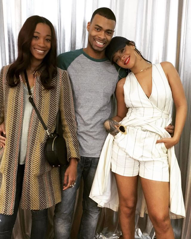 Rihanna Balenciaga Resort 2016 striped dress shorts, Club 75 club cat hat, Nini Nguyen bamboo cateye sunglasses