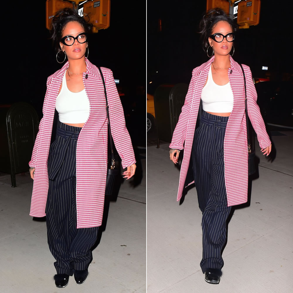 Rihanna Celine houndstooth coat, Celine Resort 2016 belted trousers, Pierre Hardy fur-trimmed sneakers, Mark Cross Benchley handbag, Jacquie Aiche diamond halter bra