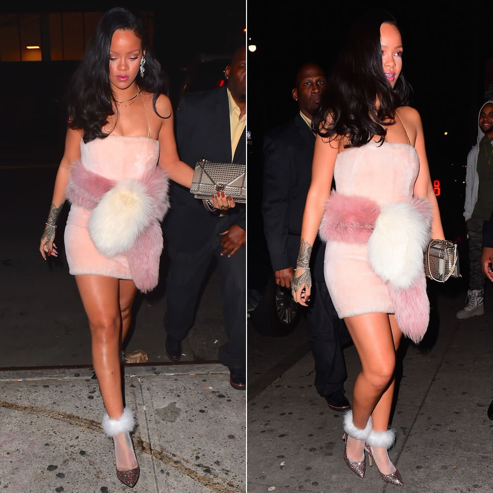 Rihanna Fendi pink fur mini dress, Rihanna x Stance Frost Bite white socks, Isabel Marant Etoile Gilby glitter pumps, Dior Diorama handbag, Miu Miu crystal flower bow earrings, Jacquie Aiche diamond halter bra