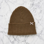 Silver Spoon Attire merino wool bow beanie in brown sugar as seen on Rihanna