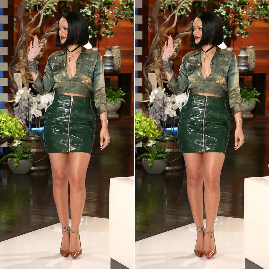 Rihanna Alexandre Vauthier green leather skirt, Christian Louboutin So Kate orange python pumps, Roseark emerald gold cross