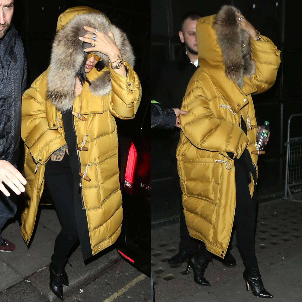 Rihanna Burberry yellow puffer toggle coat, Moschino yellow cat-eye sunglasses