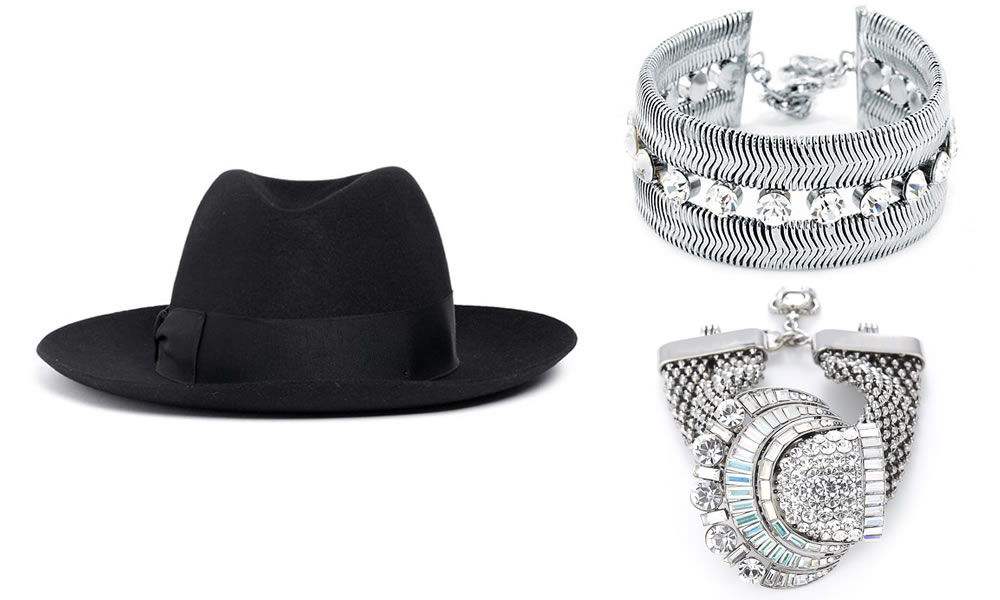 Borsalino black wide brim felt hat, Butler and Wilson snake chain bracelet and crystal shell shape chain bracelet
