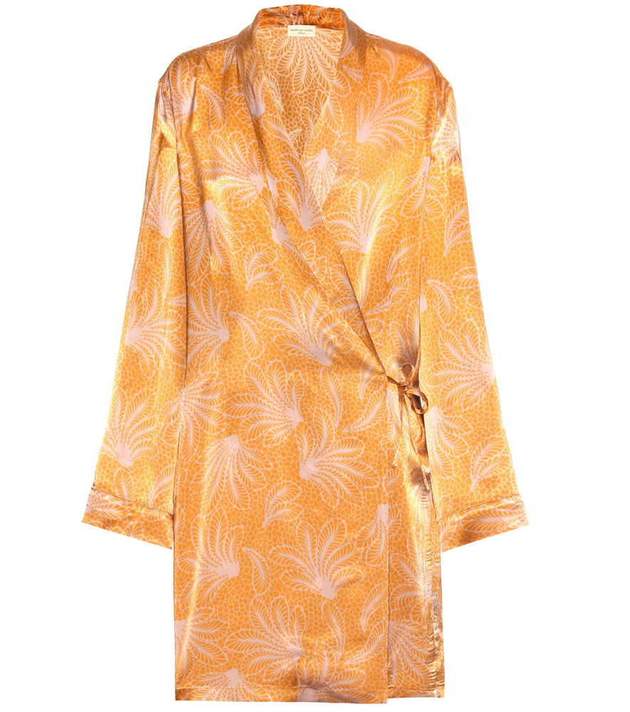 Dries Van Noten Cancun orange feather print wrap dress as seen on Rihanna