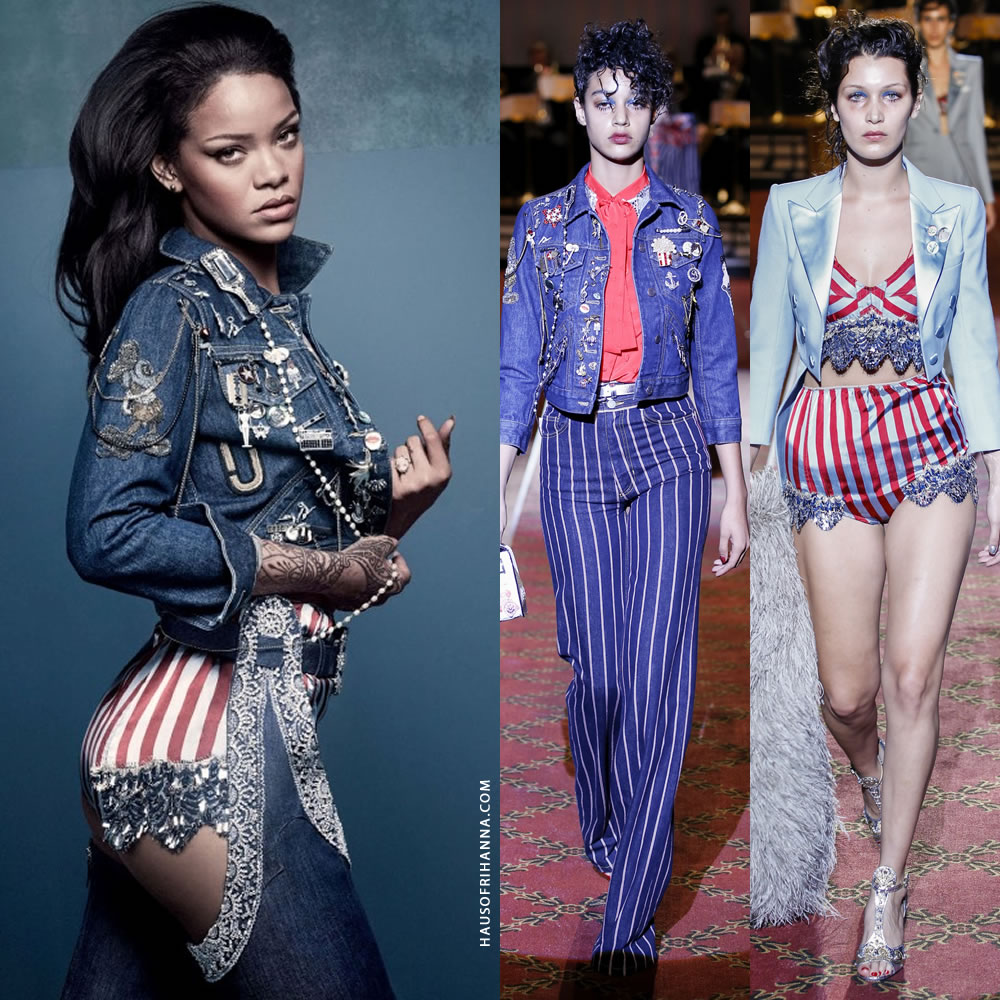 Rihanna British Vogue April 2016 Marc Jacobs shrunken denim jacket and striped embellished shorts