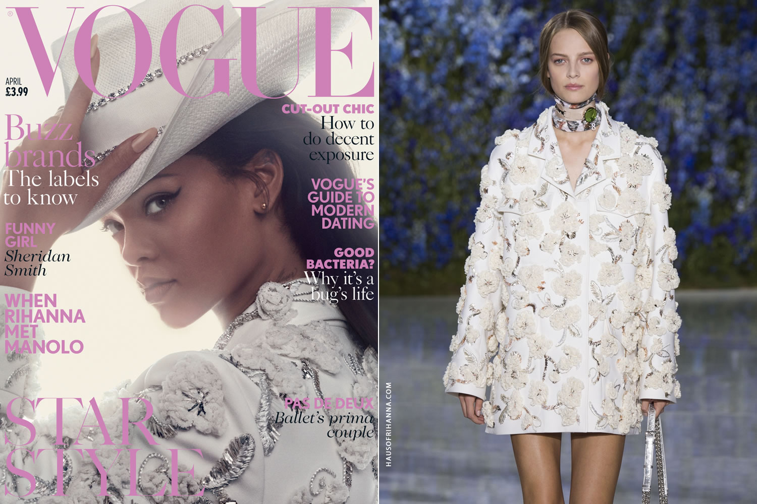 Rihanna British Vogue April 2016 Christian Dior flower embellished jacket, Piers Atkinson white crystal-embellished hat
