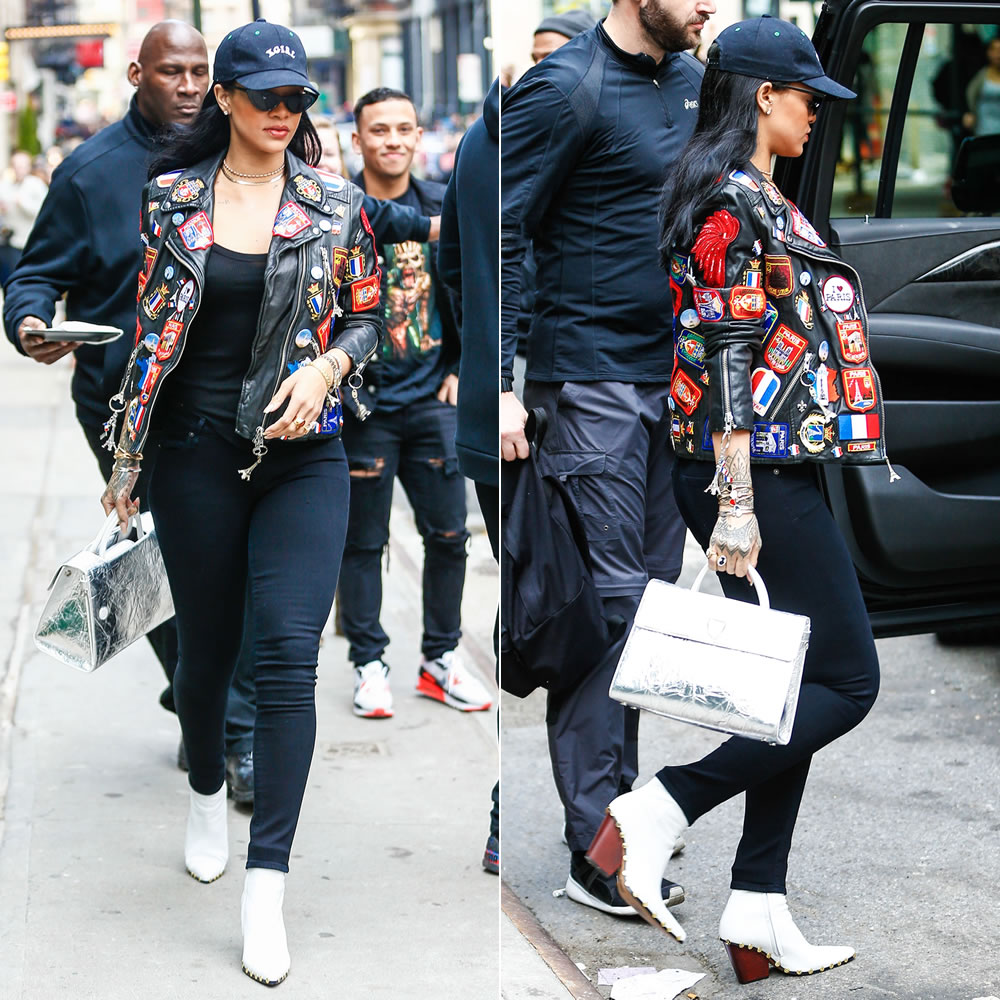 Rihanna Dries Van Noten patches leather jacket, Citizens of Humanity Avedon Slick black skinny jeans, Celine studded ankle boots, Dior Diorever silver tote, Adam Selman x Le Specs The Hunger black sunglasses, X-Girl black logo cap