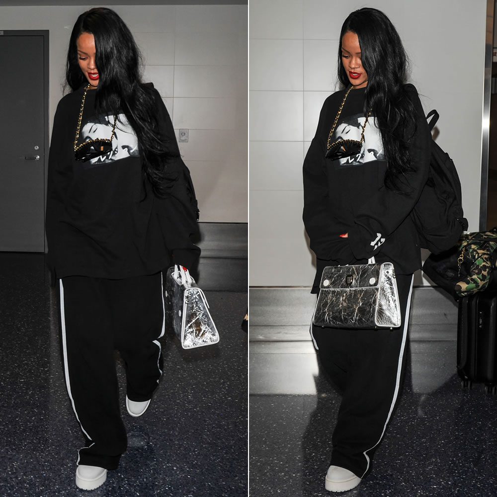 rihanna in fenty x puma graphic sweatshirt haus of rihanna. Black Bedroom Furniture Sets. Home Design Ideas