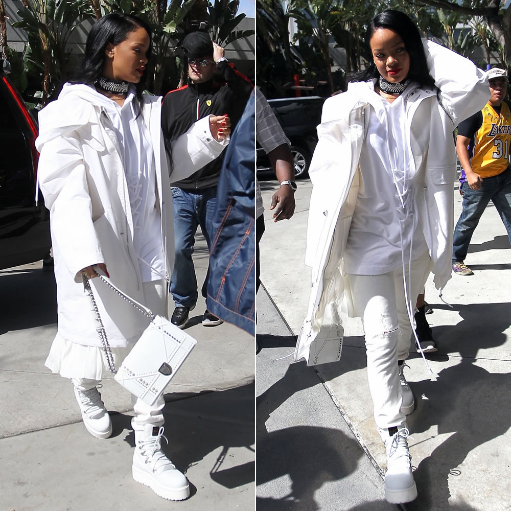 Rihanna Dior Spring 2016 white pleated parka jacket, Fenty x Puma Fall 2016 lace-up detail hoodie and white combat boots, Dior studded Diorama handbg, Fallon Monarch bandana choker