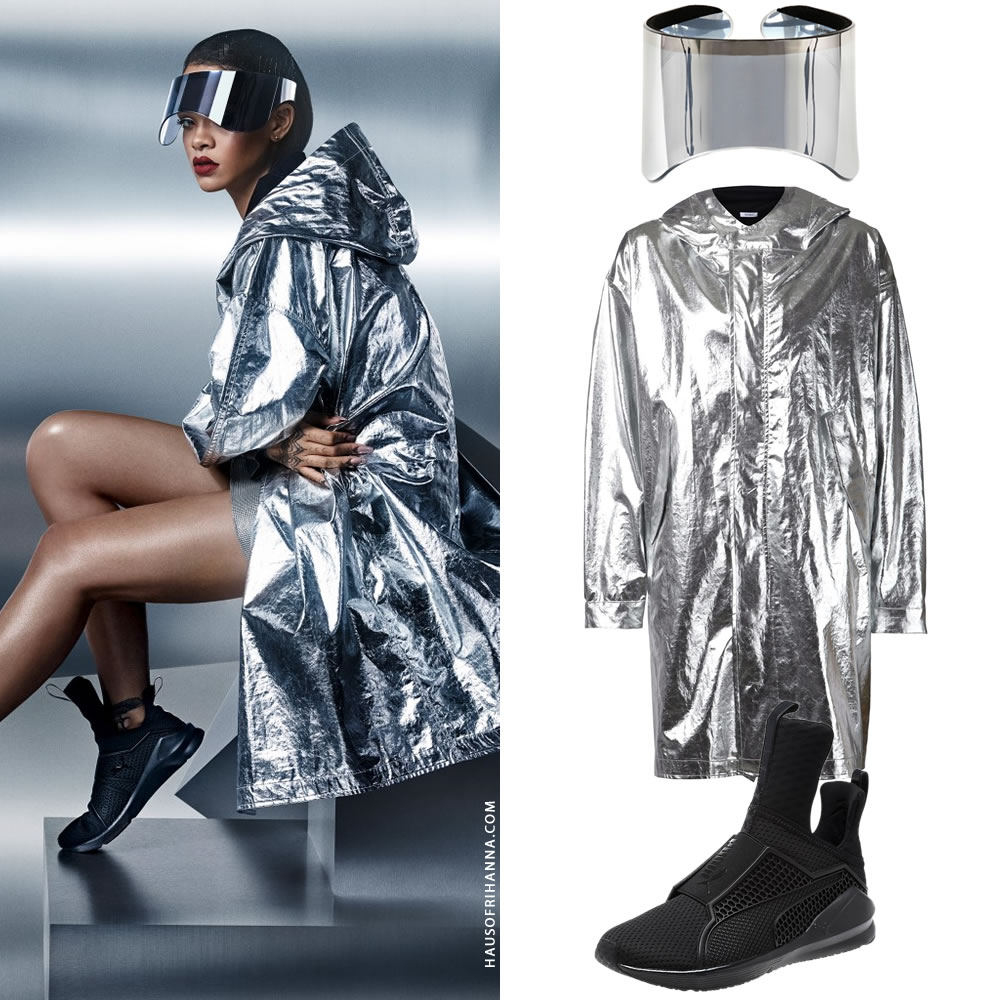 Rihanna in the Fenty x Puma Trainer sneakers ad campaign wearing Alexander McQueen mirrored visor, Nomia silver foil parka
