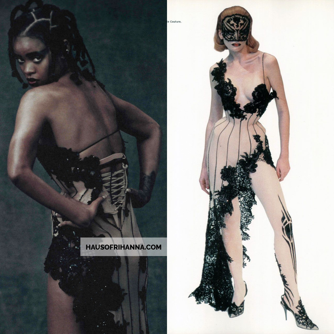 Rihanna in Thierry Mugler Spring 1999 haute couture lace corset dress