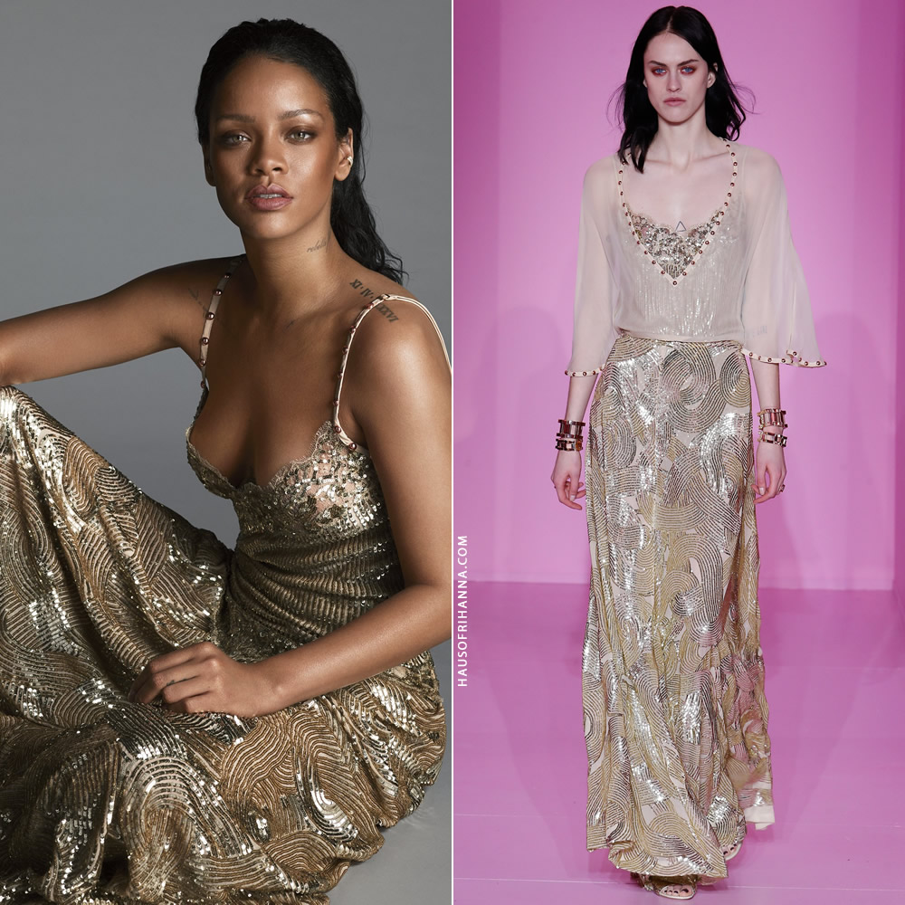Rihanna US Vogue April 2016 Givenchy couture gold sequin gown
