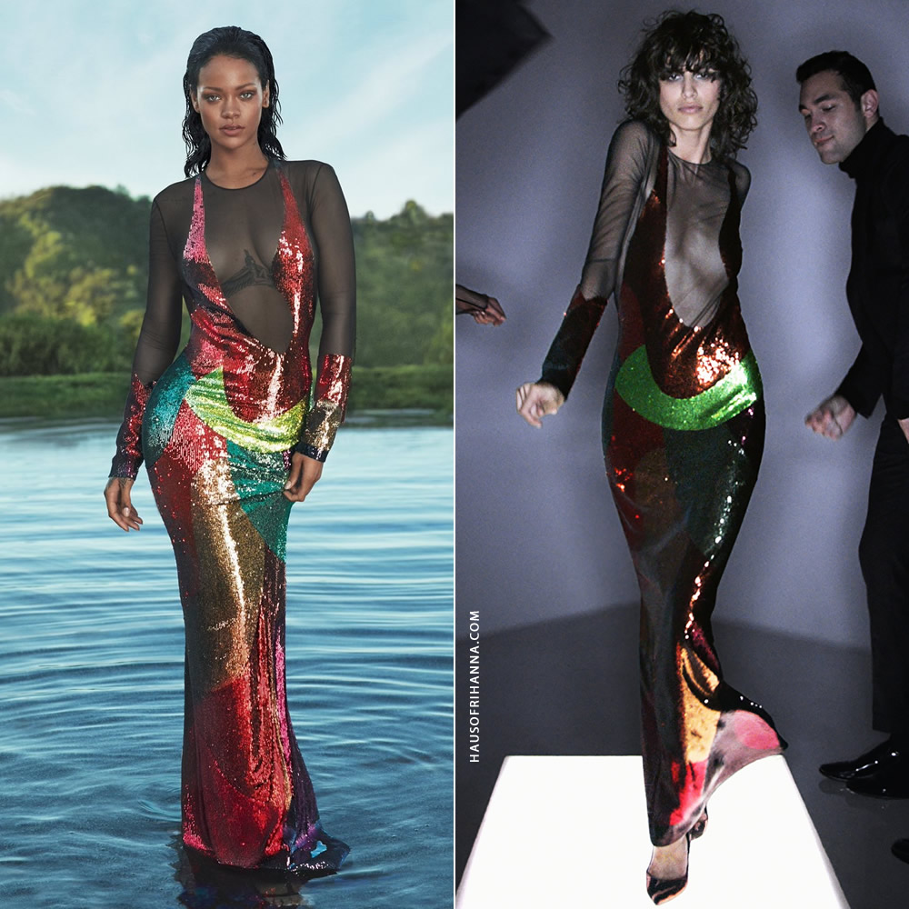 Rihanna Vogue US April 2016 Tom Ford multicolor sequin sheer dress