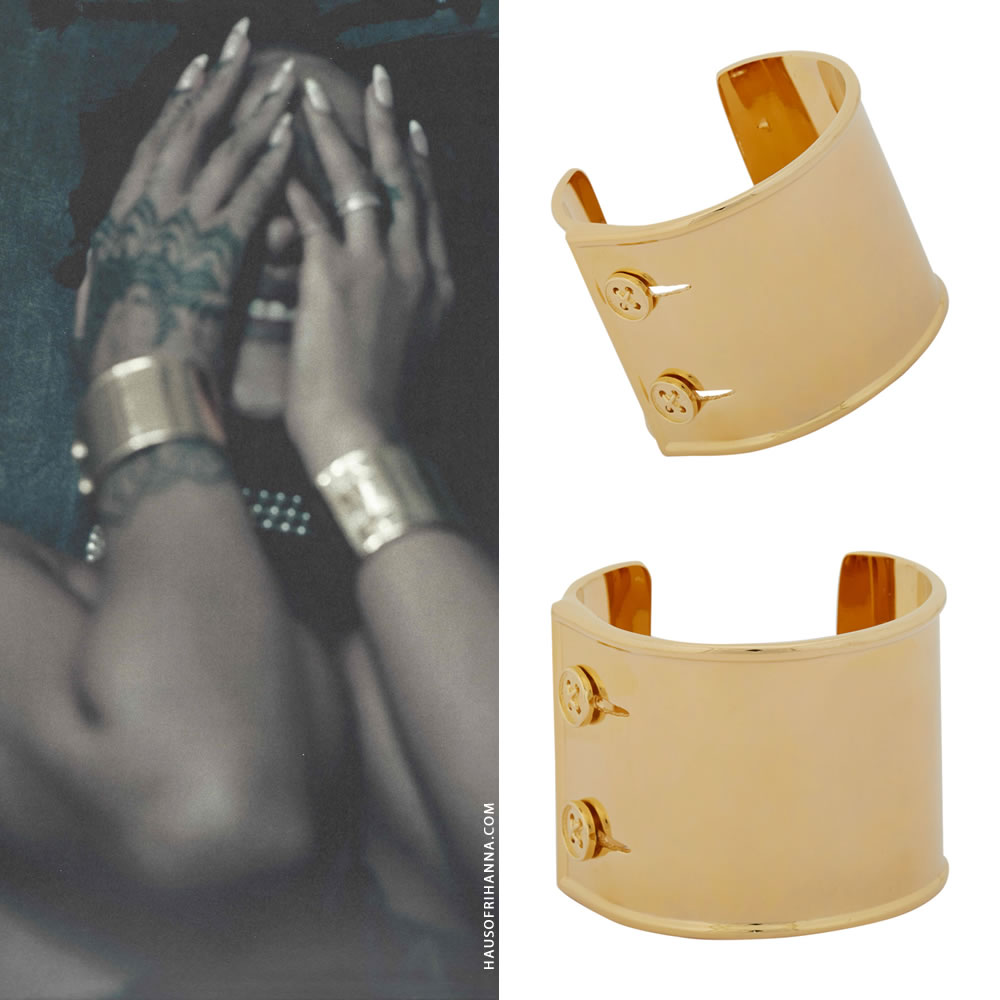 Rihanna Work single cover Jennifer Fisher gold sleeve cuff