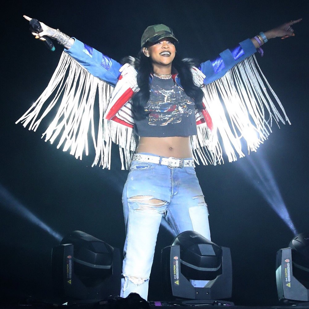 Rihanna Coachella 2016 Marc Jacobs fringed US flag jacket, Grateful Dead vintage black t-shirt, Faith Connexion ripped boyfriend jeans, Balenciaga suede and canvas lug sole boots