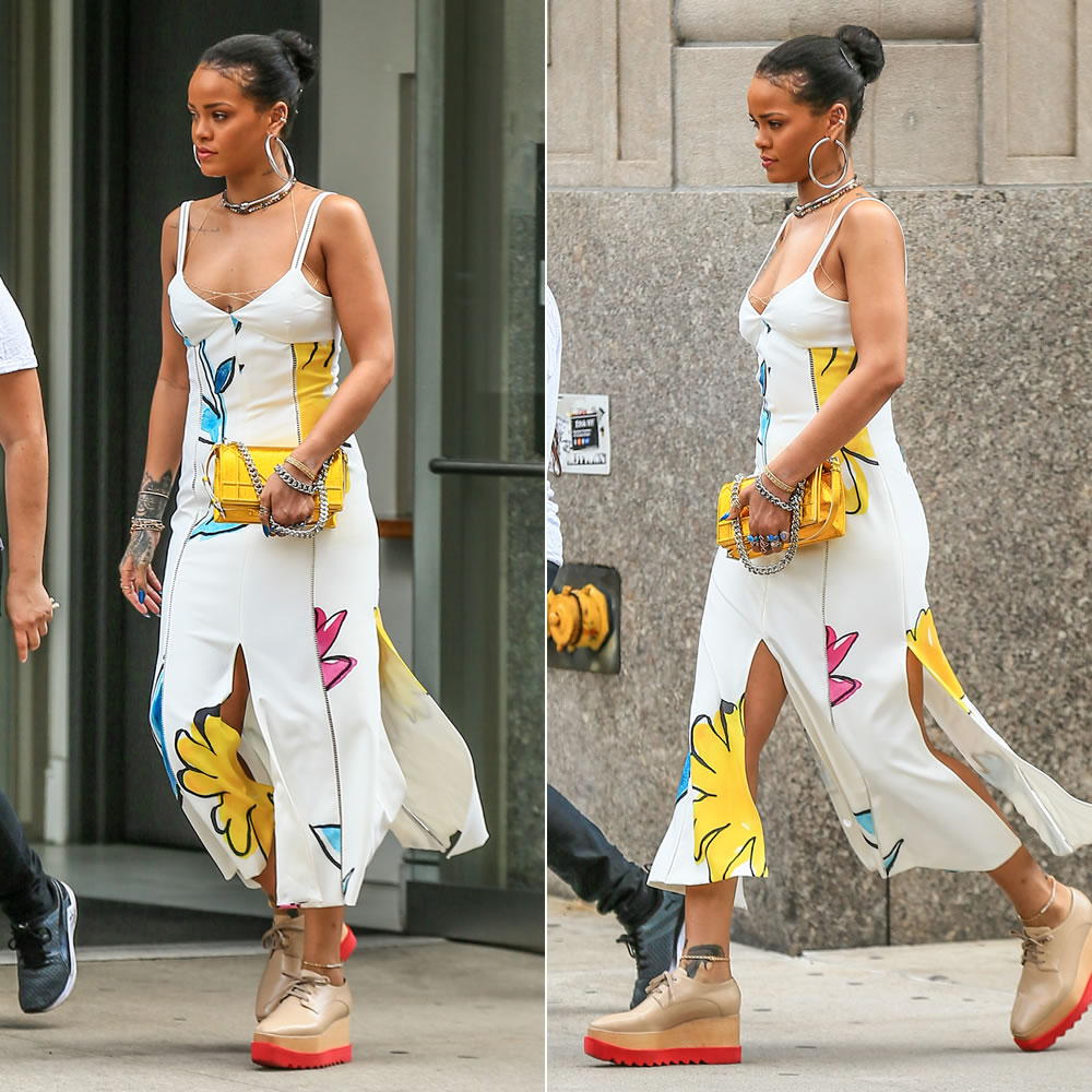 Rihanna Adam Selman floral source slip dress, Stella McCartney Britt platform shoes, Dior gold crinkled leather Diorama handbag, Jennifer Fisher silver Samira hoop earrings and orb choker, Jacquie Aiche petal stack ring, onyx eternity band, vertical kite ring, 3x3 diamond and gemstone ring