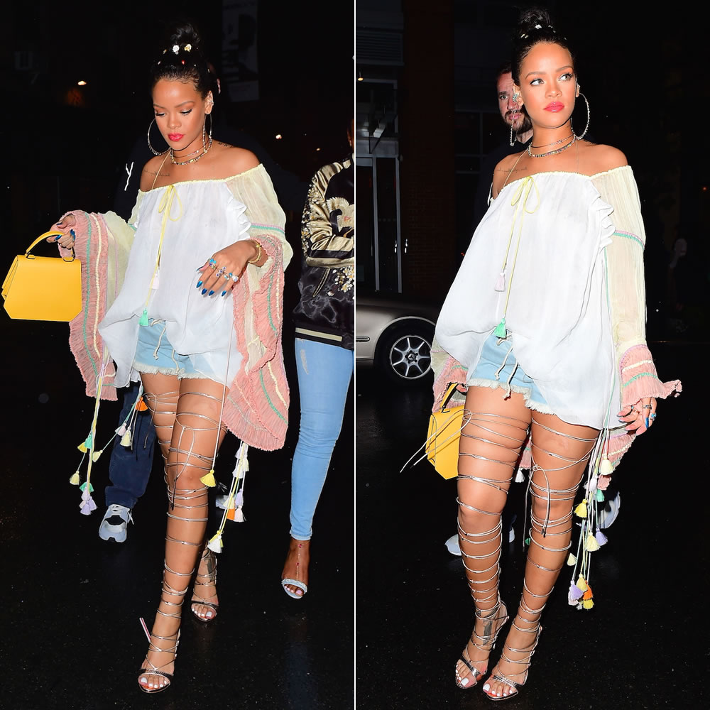 Rihanna Chloe tasseled blouse and bleached denim drawstring shorts, Dsquared2 Ayers Riri gold snakeskin thigh high sandals, Jacquie Aiche shaker diamond hoop earrings, vertical kite ring, 3x3 diamond cluster and gemstone ring, onyx eternity band, gemstone ear band and petal stack ring