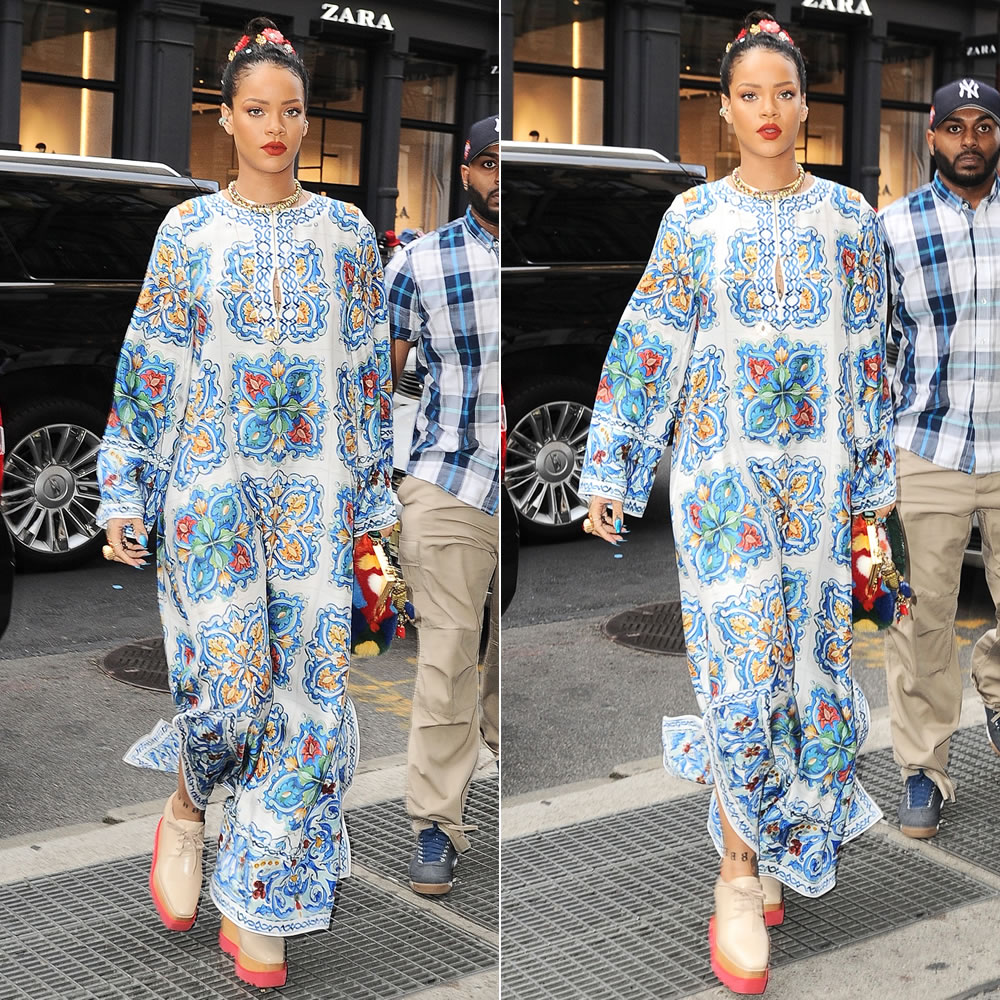Rihanna Dolce and Gabbana printed silk twill caftan gown and Vanda coloured fur handbag, Stella McCartney Britt nude platform shoes, Jennifer Fisher orb chain bracelet, Chopard Happy Hearts bracelets, Dior My Dior bracelet, Jacquie Aiche Thunderbird Fetish eagle necklace, gemstone ear bands, petal stack ring, vertical kite ring, 3x3 diamond ring, onyx eternity band, emerald and diamond cuff
