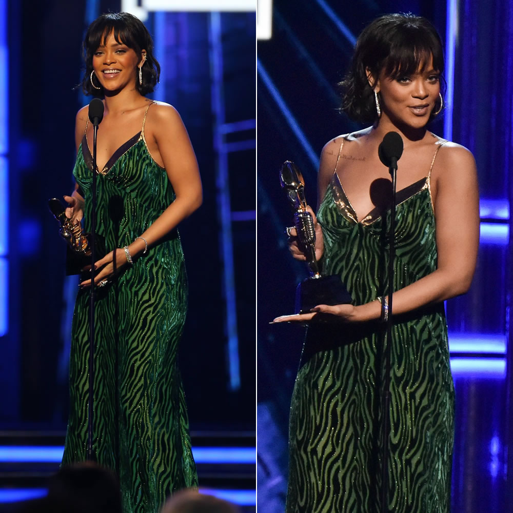 Rihanna 2016 Billboard Music Awards Dries Van Noten Fall 2016 green velvet and gold dress, Borgioni baguette emerald ear cuff, Jacob & Co green tourmaline rings, Hearts on Fire diamond bracelets