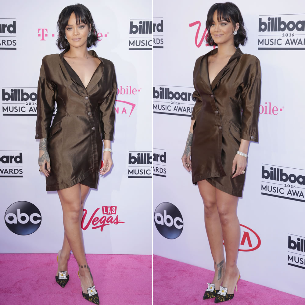 Rihanna 2016 Billboard Music Awards vintage Thierry Mugler brown silk jacket dress