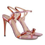 Gucci two-tone pink metallic sandals as seen on Rihanna