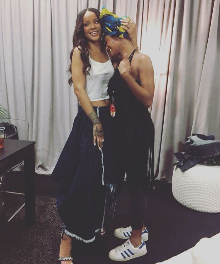 Rihanna Marques'Almeida frayed denim wrap skirt, Rihanna x Manolo Blahnik Rih Vi sequined denim sandals