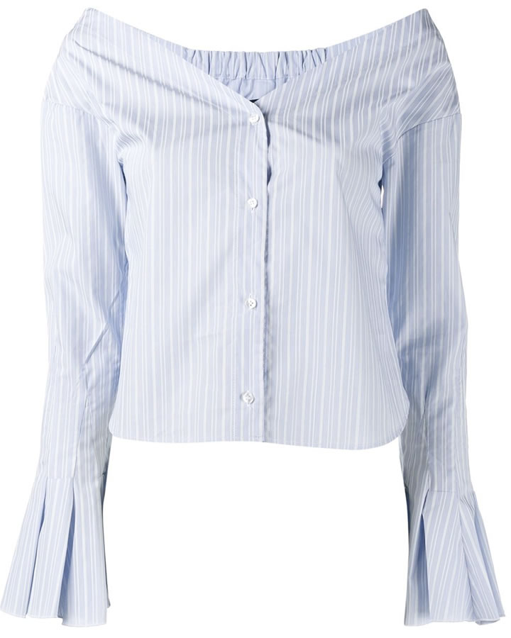 Jacquemus blue white striped off-the-shoulder long sleeve top as seen on Rihanna