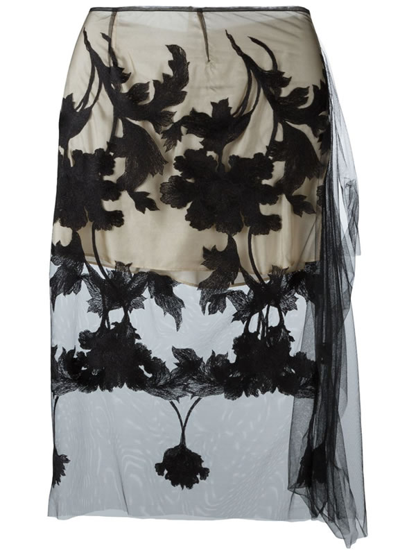 Marques'Almeida embroidered tulle skirt as seen on Rihanna