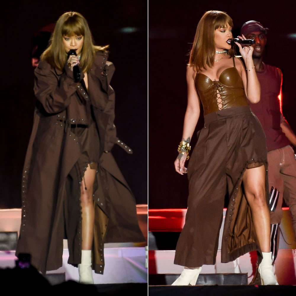 Rihanna Craig Green brown grommet coat and pants Spring 2017 and LA Roxx body suit at V Festival 2016