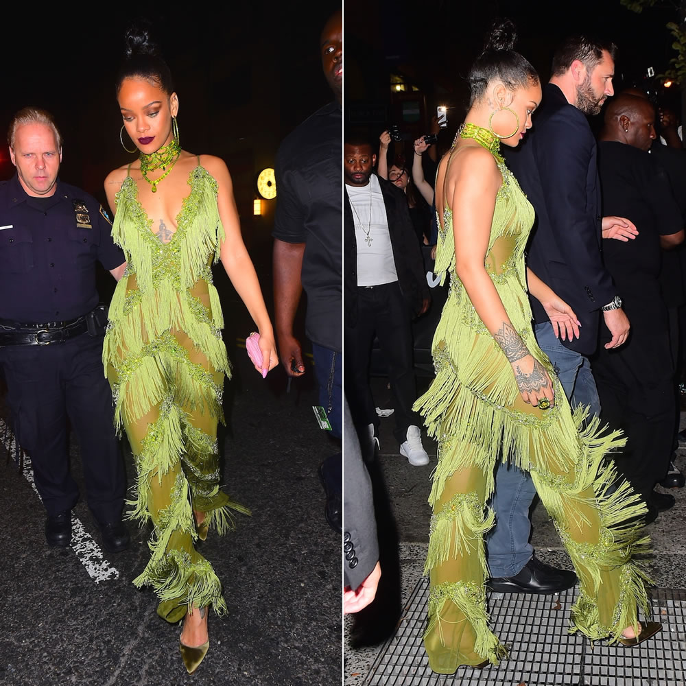 Rihanna Dolls House green Lanna fringe jumpsuit, Lydia Courteille tsavorite and brown gold ring