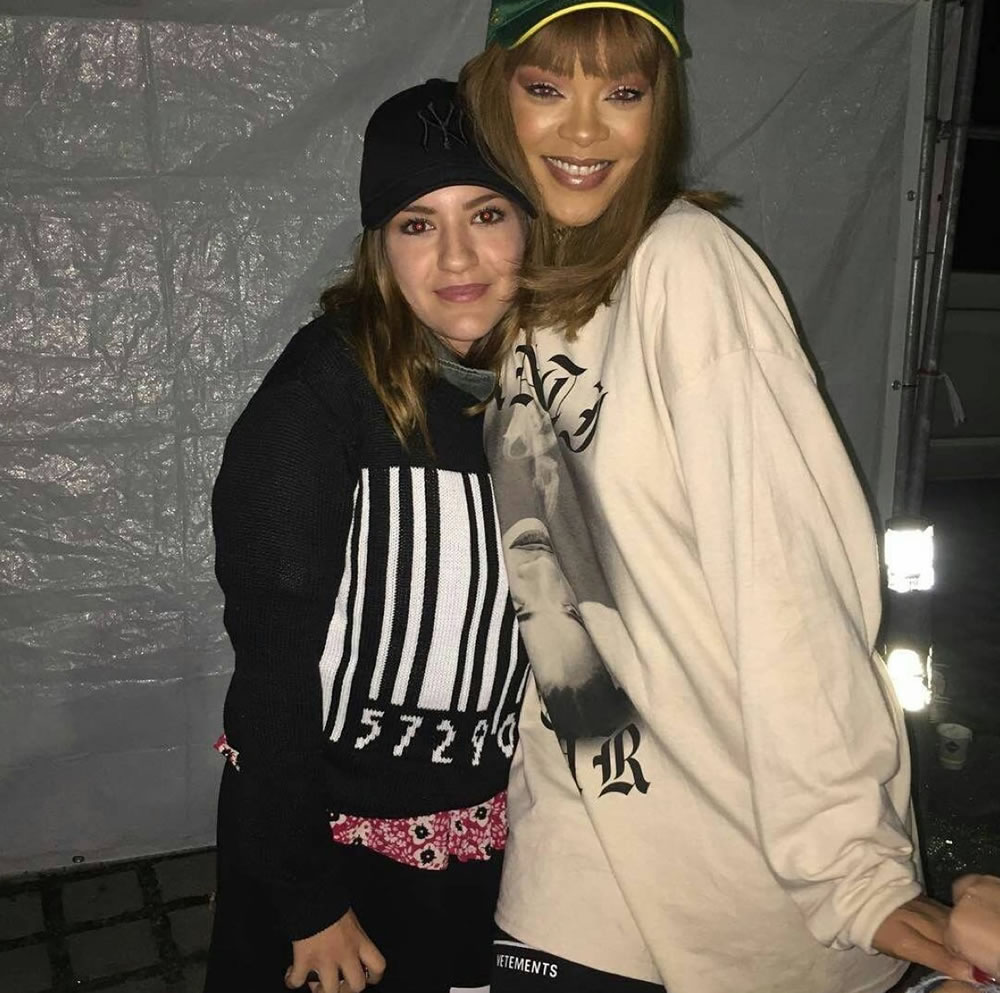 Rihanna Vetements thigh high sock boots black, Anti World Tour smoking sweatshirt, Rolex green cap