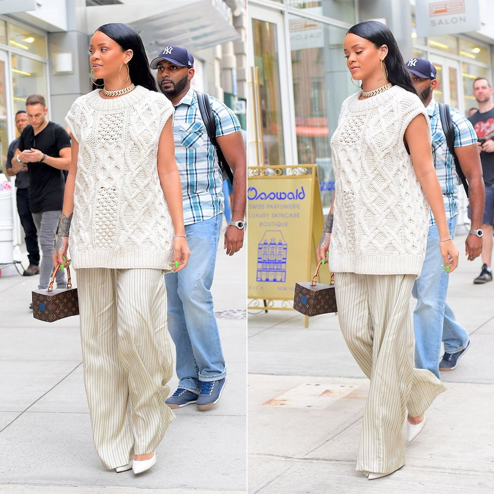 Rihanna Dries Van Noten cable knit sweater sleeveless, Gianvito Rossi whtie Gianvito pumps, Louis Vuitton x Frank Gehry twisted box bag, Jacob and Co cuban link chain