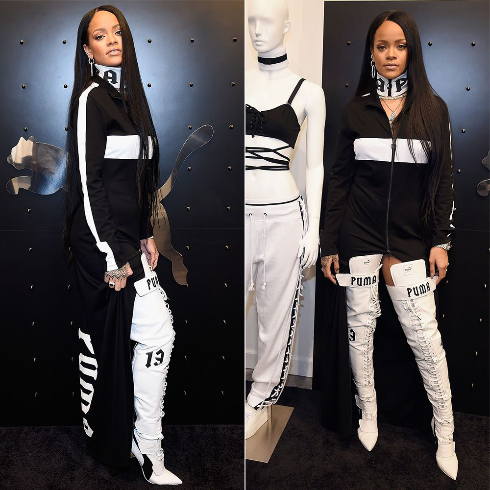 Rihanna Fenty Puma zip front striped dress, zip front logo choker, over-the-knee Eskiva boots