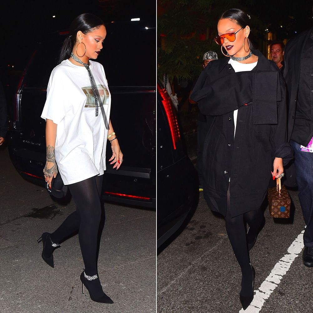 Rihanna Matthew Adams Dolan oversized black jacket, Manolo Blahnik custom suede crystal pumps, Louis Vuitton Twisted Box Bag, Gentle Monster Zhora Ori sunglasses, Fallon fishnet mesh sash choker, Kerin Rose Gold crystal hoop earrings