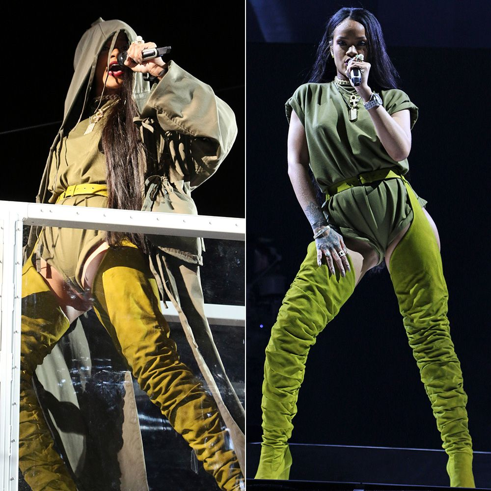 Rihanna Made In America Craig Green hoodie, Adam Selman Romper, Giuseppe Zanotti custom ruched chap boots, Rafaello and Co diamond necklaces