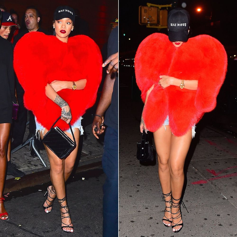 Rihanna Saint Laurent red heart fur, Dsquared2 Riri sandals, vintage Chanel velvet box bag, Bathory cap