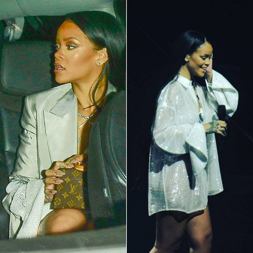 Rihanna Y/Project sheer sequin shirt and grey silk jacket, Louis Vuitton x Frank Gehry Twisted Box handbag